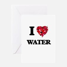 I Love Water food design Greeting Cards