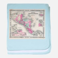 Vintage Map of Central America (1864) baby blanket