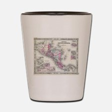 Vintage Map of Central America (1864) Shot Glass