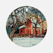 Camille Pissarro - Chestnut Trees, Round Ornament