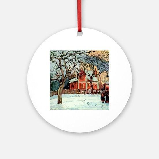 Camille Pissarro - Chestnut Trees, Round Ornament