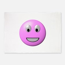 Powder Pink Smiley Face 5'x7'Area Rug