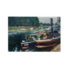 Camille Pissarro - Barges on Pontoise Magnets