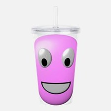 Powder Pink Smiley Fac Acrylic Double-wall Tumbler