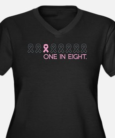 Cute Breast cancer Women's Plus Size V-Neck Dark T-Shirt