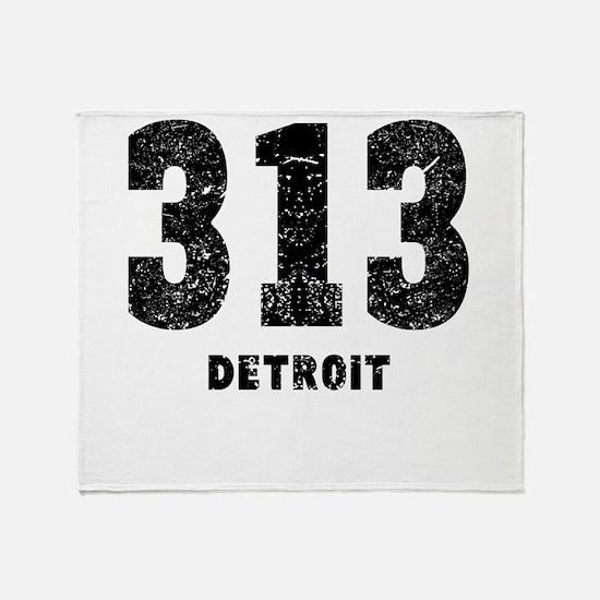 313 Detroit Distressed Throw Blanket