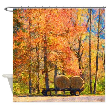 Autumn Fall Leaves Hay Wagon Shower Curtain By Rebeccakorpita