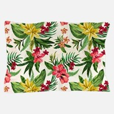 Colorful Exotic Flowers Pillow Case