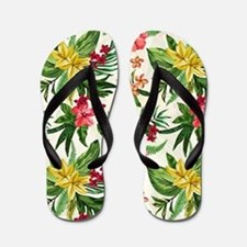 Colorful Exotic Flowers Flip Flops