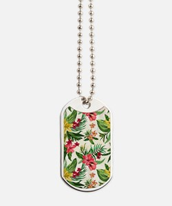 Colorful Exotic Flowers Dog Tags