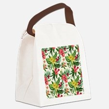 Colorful Exotic Flowers Canvas Lunch Bag