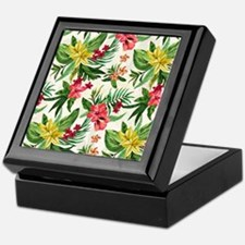Colorful Exotic Flowers Keepsake Box