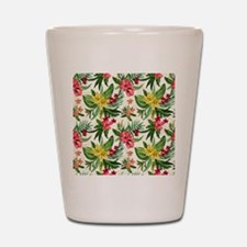 Colorful Exotic Flowers Shot Glass