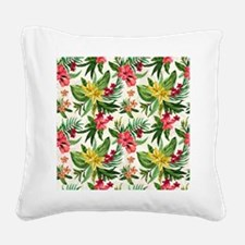 Colorful Exotic Flowers Square Canvas Pillow