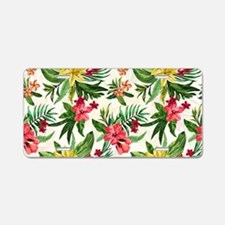 Colorful Exotic Flowers Aluminum License Plate