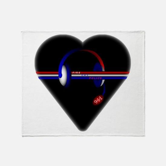 911 Dispatcher (Heart) Throw Blanket