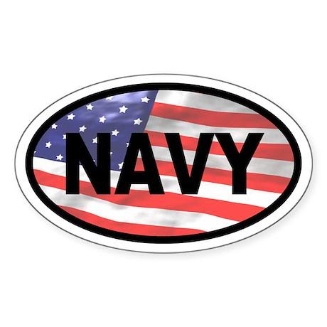 American Flag NAVY Oval Sticker