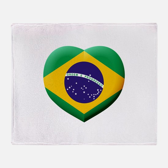 Brazilian Flag in 3D Heart Throw Blanket