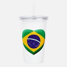 Brazilian Flag in 3D H Acrylic Double-wall Tumbler