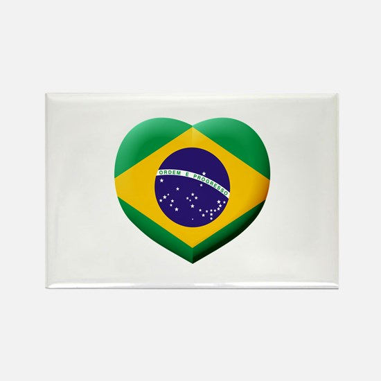 Brazilian Flag in 3D Heart Magnets