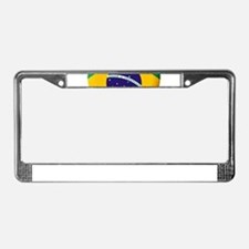 Brazilian Flag in 3D Heart License Plate Frame