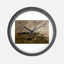 Eugene Boudin - Cows in the Fields Wall Clock