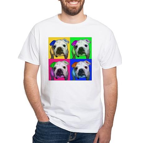 Einstein the English Bulldog White T-Shirt