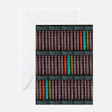 Vintage Books Bookcase Bookshelf Greeting Cards