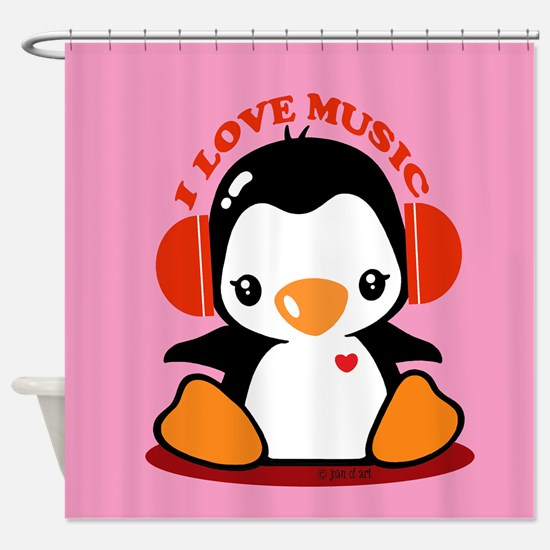 Music Penguin Shower Curtain