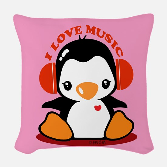Music Penguin Woven Throw Pillow