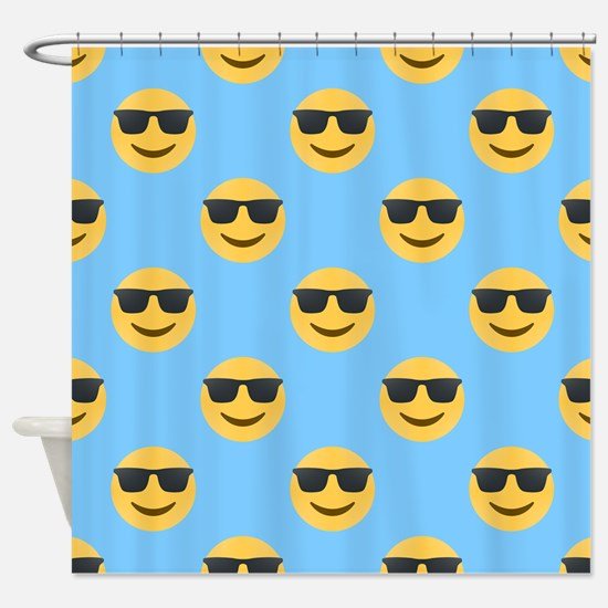 sunglasses emojis Shower Curtain