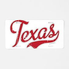 Texas Script Font Vintage Aluminum License Plate