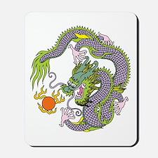 Colorful Chinese Dragon Circle Totem Mousepad