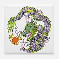 Colorful Chinese Dragon Circle Totem Tile Coaster