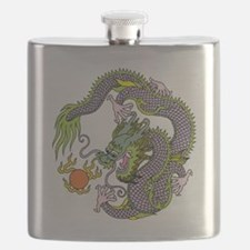 Colorful Chinese Dragon Circle Totem Flask