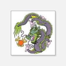 "Colorful Chinese Dragon Cir Square Sticker 3"" x 3"""