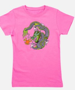 Colorful Chinese Dragon Circle Totem Girl's Tee