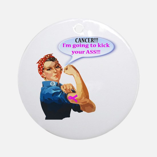 Rosie Fighting Cancer Design Round Ornament