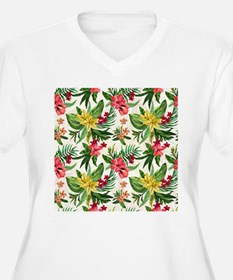 Colorful Exotic Hawaiian Flowers Plus Size T-Shirt