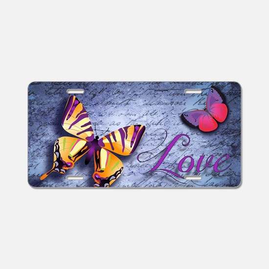 Butterfly Love Aluminum License Plate