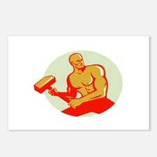 Athlete With Sledgehammer Training Oval Retro Post