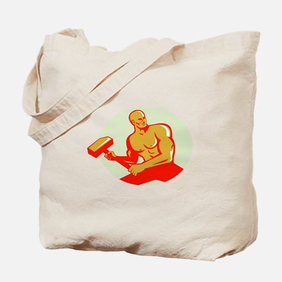 Athlete With Sledgehammer Training Oval Retro Tote
