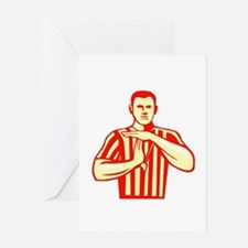 Basketball Referee Technical Foul Retro Greeting C