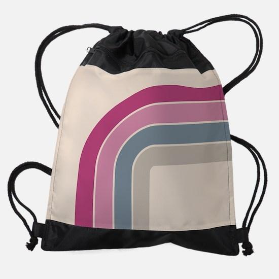 Retro Vintage Pink Curve Drawstring Bag