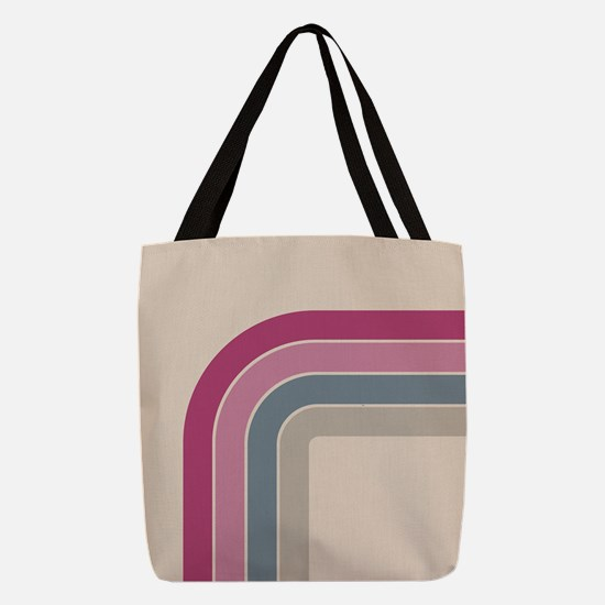 Retro Vintage Pink Curve Polyester Tote Bag