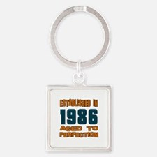 Established In 1986 Square Keychain