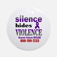 Silence Hides Violence Round Ornament