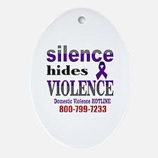 Silence Hides Violence Oval Ornament