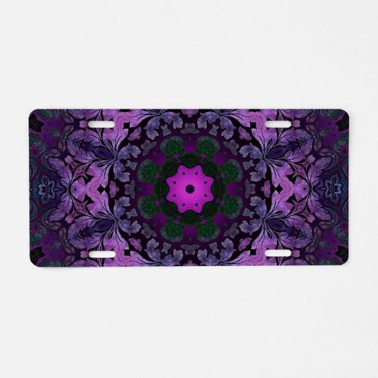 Gothic vintage purple abstr Aluminum License Plate