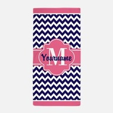 Pink Chevron Pattern with Monogram Beach Towel